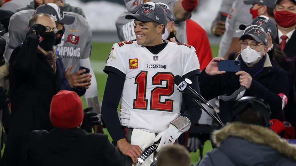 Tom Brady during the Tampa Bay Buccaneers' NFC Championship win over the Green Bay Packers
