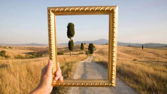 An empty picture frame outlines a peaceful scene of a country road.