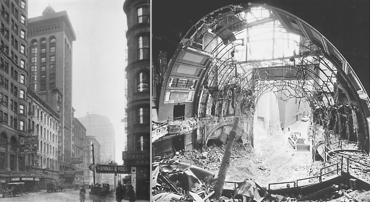 The Garrick Theater, shown early in the 20th century (left) and also photographed by preservationist Richard Nickel during its demolition (right).