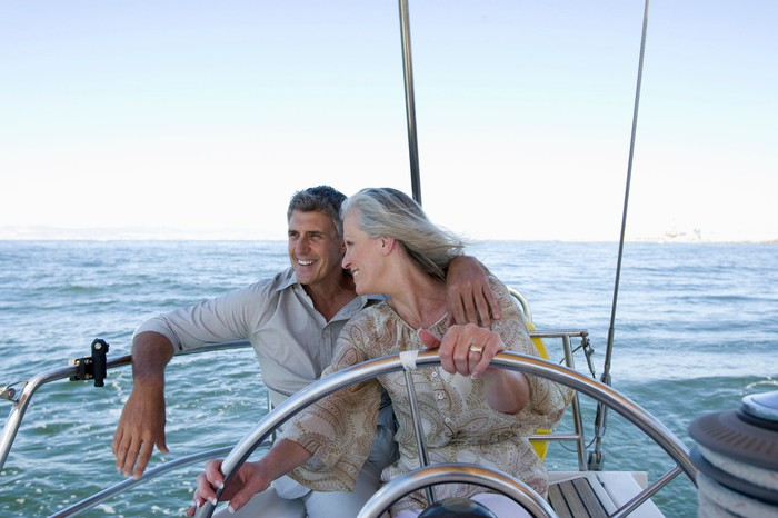 Older man and woman on boat