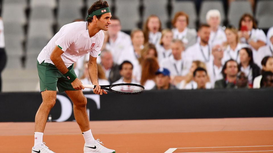 Roger Federer, pictured here at the Match in Africa against Rafael Nadal in February 2020.