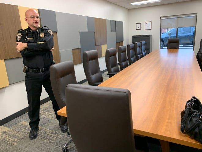 Muskego Police Chief Richard Rens stands inside the new police station's largest rooms, a conference room, during a tour of the new building in October 2019. Rens announced on Feb. 24 he is retiring. His successor, Muskego Police Detective Stephen Westphal, will take over on April 16.