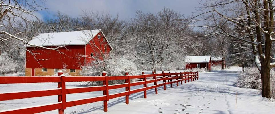 Agriculture and rural life at winter background. Wisconsin, USA.
