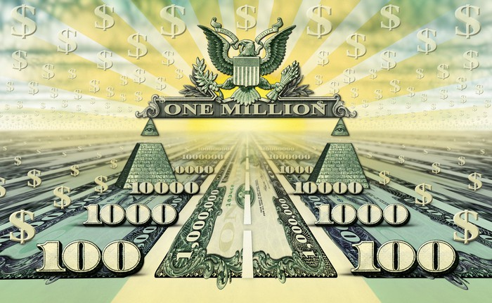A road paved with a one million-dollar bill that ends at one million-dollar drawing.