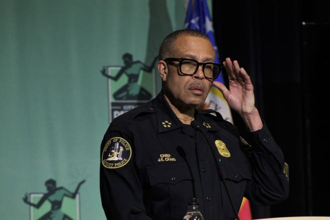 Detroit Police Chief James Craig speaks at a press conference at Detroit Public Safety Headquarters on March 8, 2021.