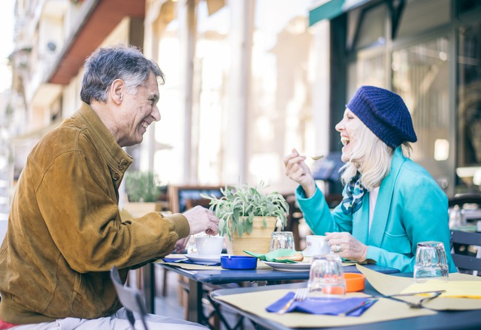 Two people at outdoor restaurant