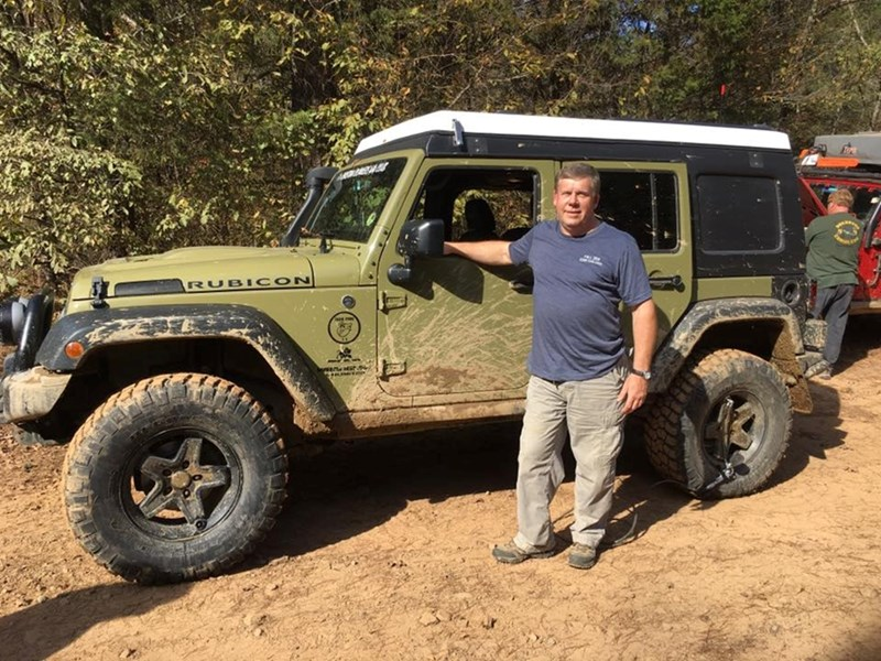 Randy Putt and his Jeep at a Natural State Overland event.