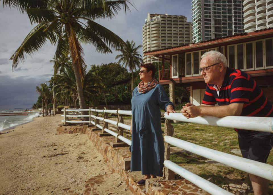 Older couple watching a storm rolling in