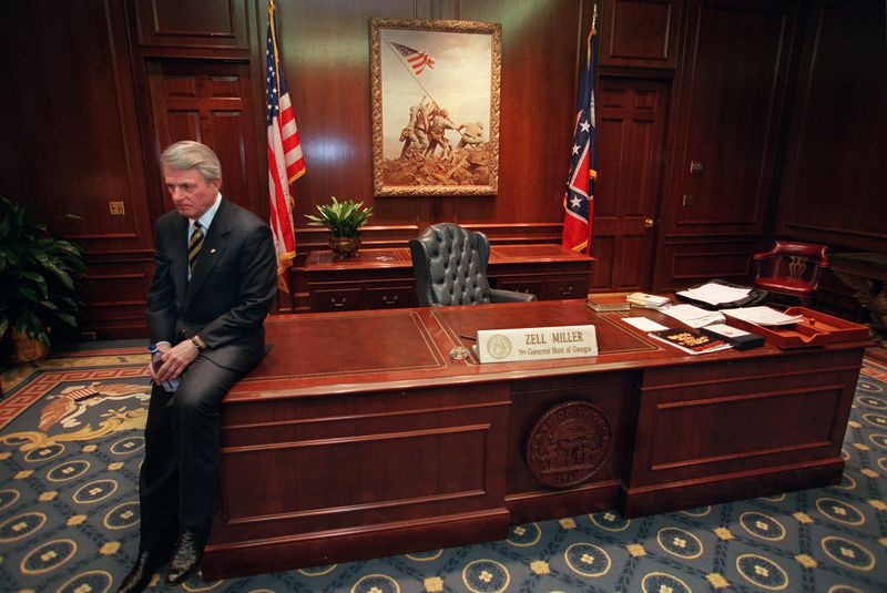 Gov. Zell Miller in a moment of thought in his office prior to the unvieling of his official portrait on Dec. 30, 1998. RICH ADDICKS / AJC