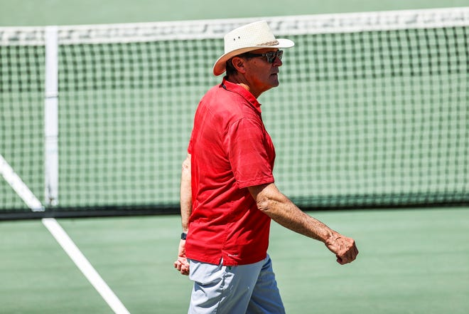 Georgia head coach Manuel Diaz during the second round of the 2021 NCAA men's tennis championships at the Dan Magill Tennis Complex in Athens on Sunday, May 9, 2021. (Photo by Tony Walsh)