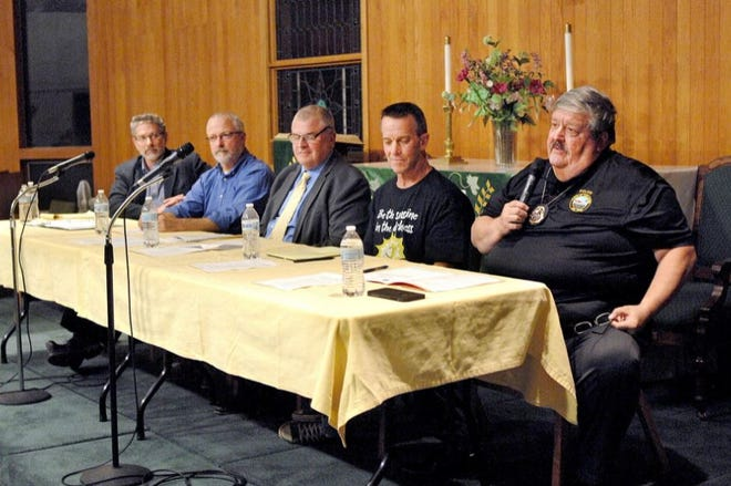 A community discussion on civility took place in September 2019 at York-Ogunquit United Methodist Church. On the panel, from left to right, were Seacoast Media Group Executive Editor Howard Altschiller, York Town Manager Steve Burns, York School Department Superintendent Lou Goscinski, York resident Charlie Black and York Police Department Chief Charles Szeniawski.